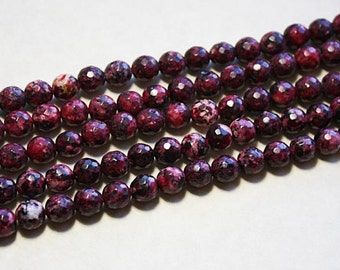 Agate Beads Mutli Maroon & Burgundy Faceted Agate 8mm 15 1/2 inch #z298