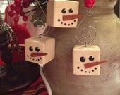 Primitive Snowman Cubed Wood Christmas Ornament