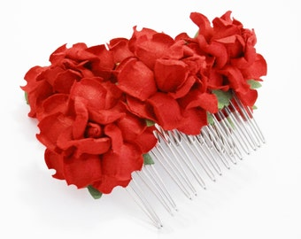 Bright Romantic Red Rose Hair Comb/ Rouge/ Traditional/ Bridal/ Wedding Hair Accessories/ Bridesmaid Hair Fascinator