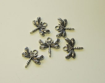 Dragonfly charms antique silver