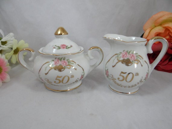 50th golden wedding anniversary vintage lefton by With kitchen cabinets lowes with gold 50th anniversary stickers