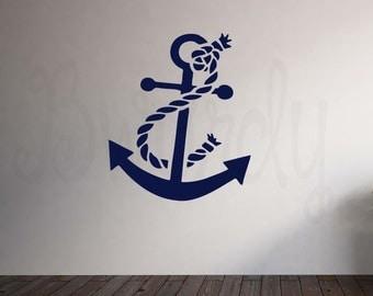 Nautical Anchor Vinyl Decal- Wall Art Decoration- Nursery, Bedroom