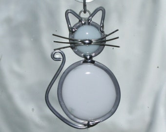 Stained Glass White Cat Ornament, Suncatcher
