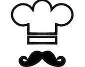 Chef Hat Mustache APPLIQUE. Instant Download Machine Embroidery Design Digitized File - DChaseDesigns