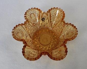Westmoreland Handmade Glass Nut Dish Sunflower Pattern Sawtooth Edge