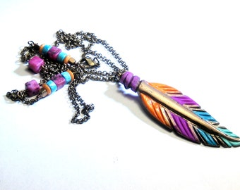 Feather Necklace, Hand Painted, Southwest, Tribal, Bohemian Jewelry