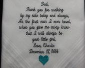 Custom Embroidery 40 words of your Choice. This Handkerchief makes an Awsome Gift for your Parents On Your Wedding Day. Gift Box included.