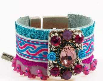 Leather cuff Ibiza hippie style - fuchsia, turquoise - ultra wide bracelet - Swarovski Crystals - lace and ribbon