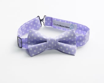 Bow Tie - Purple with White Polka Dots Bowtie