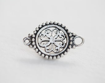 Sterling Silver Filigree Connector Pendant - 925 silver, round flower shaped filigree charm