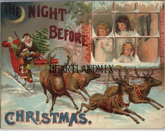 Night Before Christmas Digital Image Downloadable, Printable Digital Art Image Instant Download 300 DPI