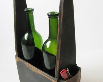 Handmade two bottle wine carrier in signature WoodaCooda antique black.