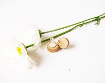 "Small maple wood Stud Earrings, Natural Wooden stud earrings, Sterling silver posts . 1/2"" wood discs(13mm)"