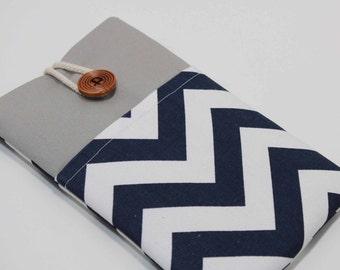 Ipad mini 4 Sleeve Chevron Blue IPad mini 3 Cover IPad mini 3 Case Handmade iPad mini 3 Sleeve with Pocket
