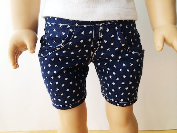 "American Girl 18"" Doll Clothes Navy Stars Knee Length Shorts"