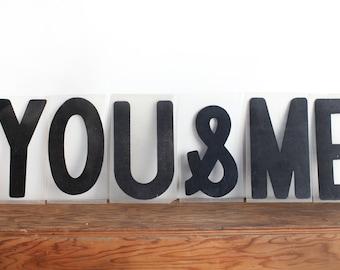 """Vintage Plastic Letters """"You & Me"""""""