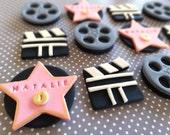 Fondant movie, Oscar, Hollywood themed party, fondant cupcake toppers, fondant star, fim reels, clapboards, movie, celebrity, las vegas