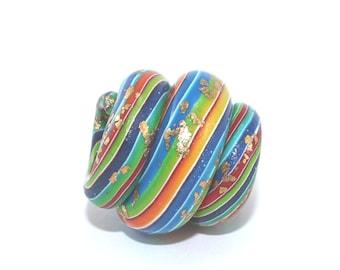 Dreadlock bead, Polymer Clay hair bead, spiral dread bead, unique stripes bead, dread hair bead