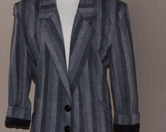 STRIPE BLAZER // vintage blazer // gray blazer