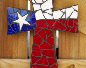USA Flag Mosaic Cross, Texas Flag Cross, Stained Glass Cross, Mosaic Stained Glass Cross, patriotic wall hanging, wall decor