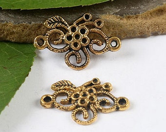 18Pcs  dark gold Ornate floral flower connectors  h1963