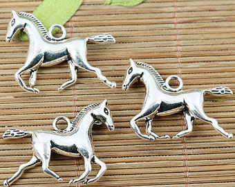 6pcs Tibetan silver running horse charms EF1285