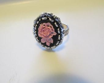 Pink Rose Cameo Ring, Adjustable Ring