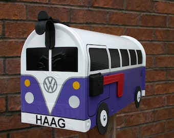 Purple Volkswagen Bus Mailbox by TheBusBox Custom made - Choose your color - SplitBusBox