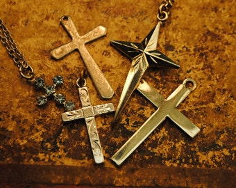 5 collection of antique vintage religious crosses for art, altered art, crafts, supplies jewelry, statement, mother mary love no 103
