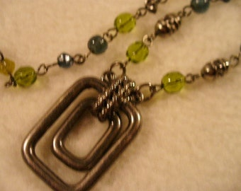 """CMC 22-1/2"""" Silver Chain with Green, Clear, Pewter Beads and Interesting Pendant"""