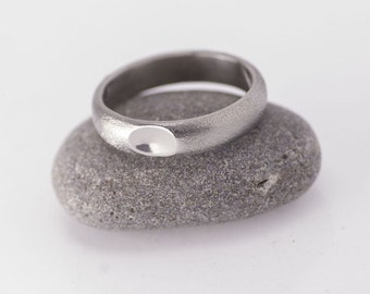 SIMPLE Wedding band, Unique HANDMADE Stainless steel ring, female or male wedding band, womens, mens engagement ring - Classic with a dimple