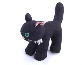 Meow!...Vintage 1960s/70's hand made felt material and embroidered stuffed toy black cat (5.5ins high)