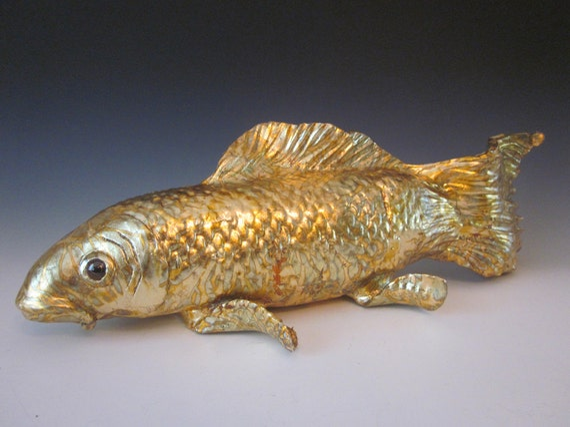 Koi fish sculpture hand made fish ceramic koi fish koi for Statue carpe koi