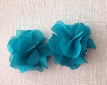 Aqua blue chiffon hair clips
