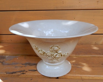 Large Portuguese Floral Hand Decorated Embossed Bowl
