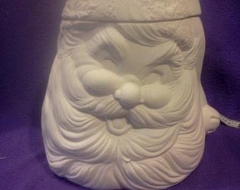 "Provincial Santa Cookie jar / Cannister 12"" x 8"" ready to paint, glazed inside"