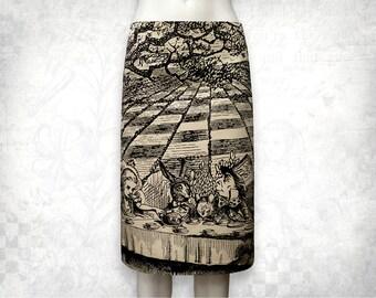 Alice in Wonderland Mad Tea party stretch cotton skirt beige
