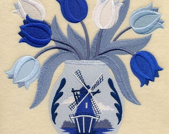 Dutch Tulip Bouquet Embroidered on Made-to-Order Pillow Cover