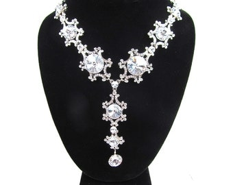Crystal Rhinestone Drop Statement Bridal Necklace, Wedding Necklace, Evening Necklace