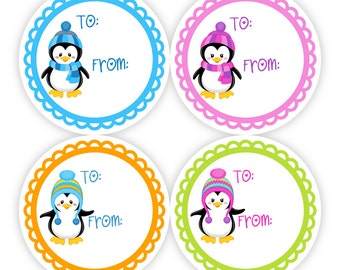 Christmas Gift Tag Stickers - Blue, Pink, Orange and Green, Cool Winter Holiday Little Boy Girl Penguins Gift Tags - 20 Round Holiday Labels