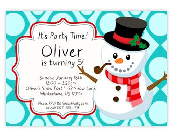 Snowman Invitation - Turquoise Blue Polka Dots, Christmas Top Hat Winter Snowman Personalized Birthday Party Invite - Digital Printable File