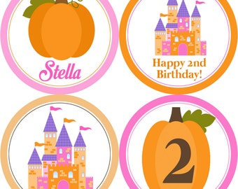 Princess Party Circles - Pink and Orange, Autumn Fall Pumpkin Princess Castle Personalized Birthday Party Circles - Digital Printable File