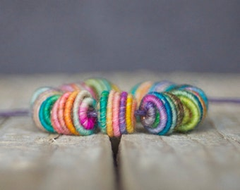 Small Handmade Fabric Textile Beads for Artisan Jewelry Designs