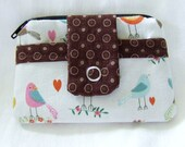 Change Purse Card Wallet Small Zippered Coin Pouch Birds Brown Blue Green 4x3.5