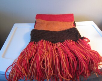 FALL COLORS CROCHETED Scarf with Fringe