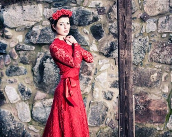 Baylis & Knight Red on Red LACE Princess Kate Middleton Long Sleeve MAXI Flared Skirt Low Cut Ball Gown Dress