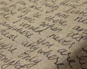 Burlap Fabric with Handwritten Song Lyrics