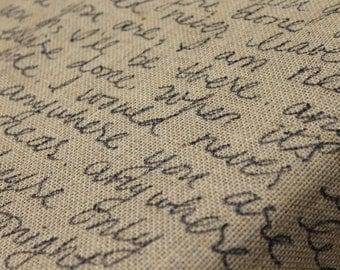 Small Burlap Fabric with Handwritten Song Lyrics