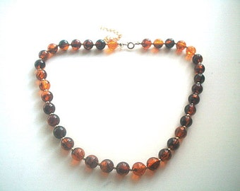 Apple Juice Root Beer Necklace Lucite Beads 16 Inches