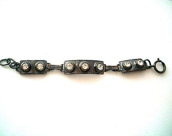 On Sale Dark Silvertone Bracelet with Rhinestones Size Small 7 Inches